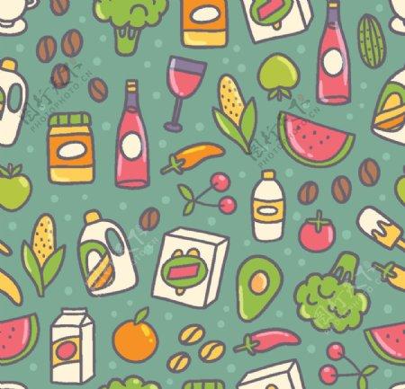 可爱饮料食物平铺图案图片