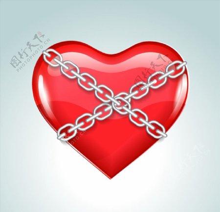 铁链捆住的爱心图片