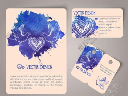 水彩鸽子卡片图片
