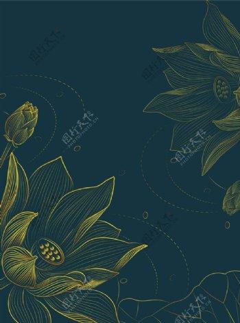 金色线条莲花图片