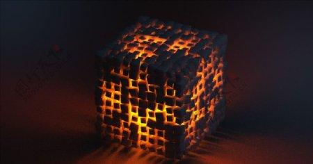 C4D模型橙色立方体图片