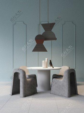 蓝灰色餐厅展示效果图片