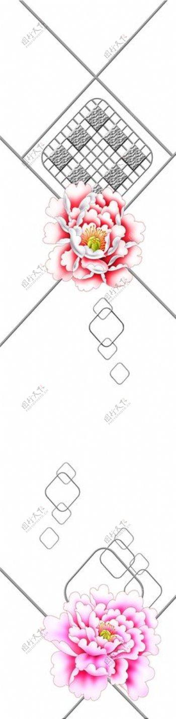 牡丹花开手绘花碎花彩雕图片