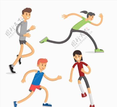 卡通跑步人物图片