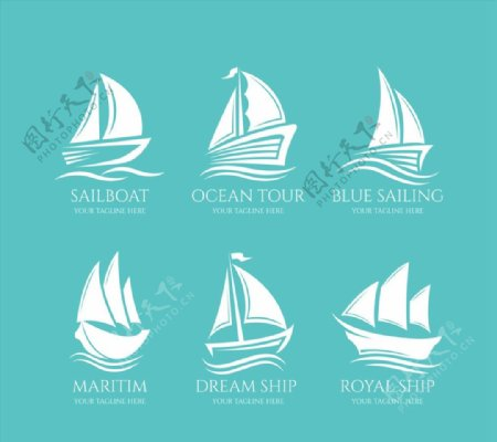 白色帆船标志图片