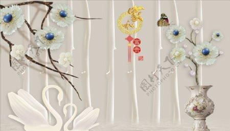 浮雕花珠宝花花瓶鸳鸯背景墙图片