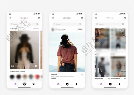 xd时尚浅色UI设计首页搜索页图片