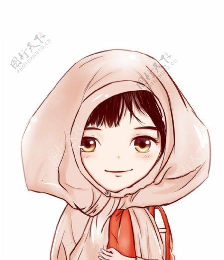 戴头巾的女生卡通图片