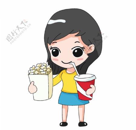 拿爆米花可乐的女孩插画图片