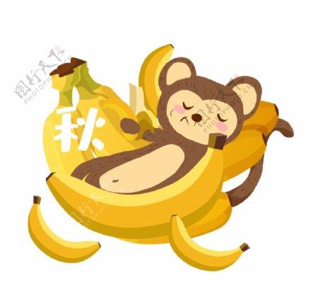 秋天丰收吃香蕉的猴子素材图片