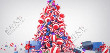C4D模型动画圣诞礼物糖果堆图片