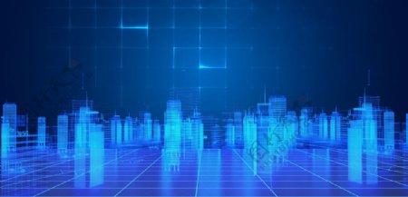 蓝色科技城市电子商务背景图片