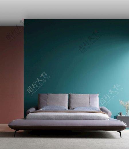 孔雀绿墙面图片