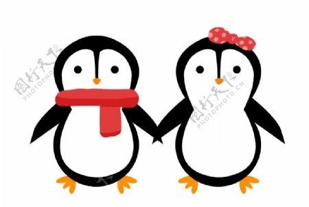 卡通情侣企鹅图片