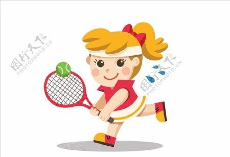 卡通运动女孩图片