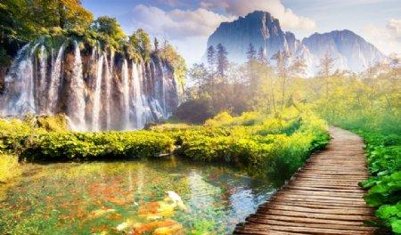 瀑布九鱼山水背景图片