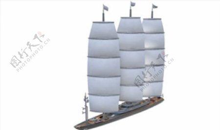 C4D模型帆船轮船捕鱼船图片