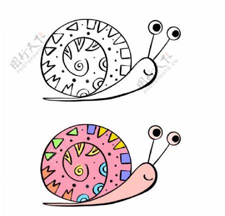 手绘简笔画蜗牛图片