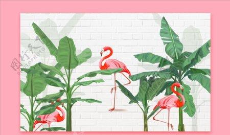 火烈鸟背景墙图片