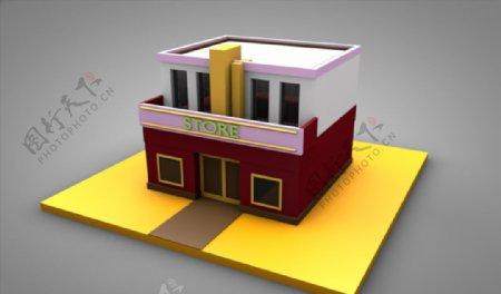 C4D模型建筑房子店铺图片