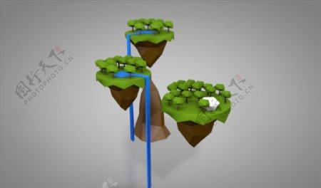 C4D模型瀑布树木岛屿图片