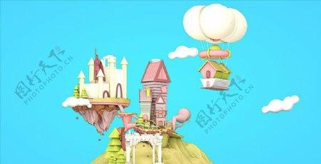 C4D模型移动城堡热气球房子图片