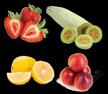 免抠水果草莓羊角蜜桃子柠檬图片