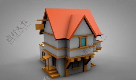 C4D模型房子建筑小洋楼别墅图片