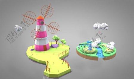 C4D模型风车小河小溪图片