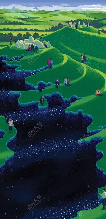 梯田河流人物游戏场景背景素材图片