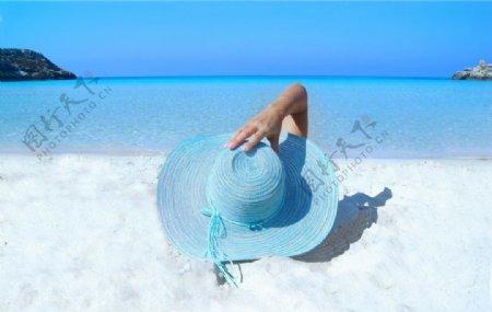 蓝色帽子图片