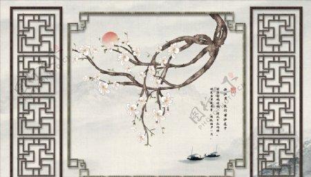 花鸟画梅花太阳背景墙图片