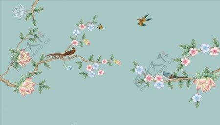 手绘画鸟飞鸟背景墙图片