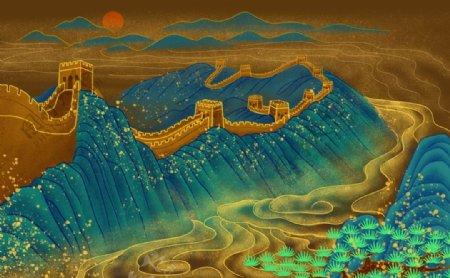 万里长城背景图片