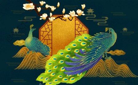 中式奢华孔雀背景墙图片