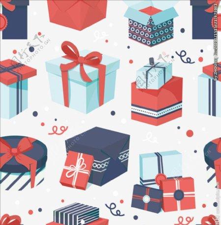 圣诞礼盒无缝背景图片