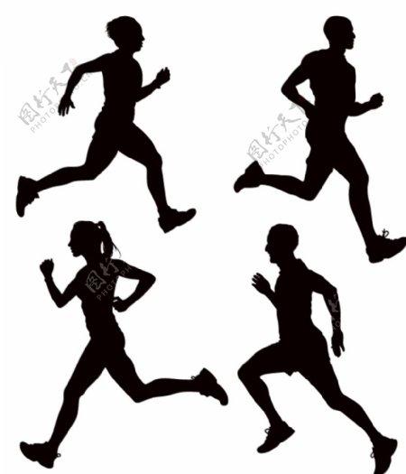跑步剪影图片