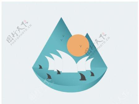 海洋帆船logo插画图片