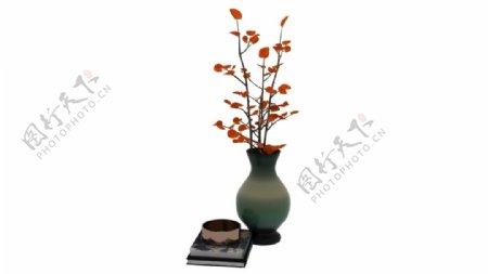 梅花花瓶书本3d模型图片