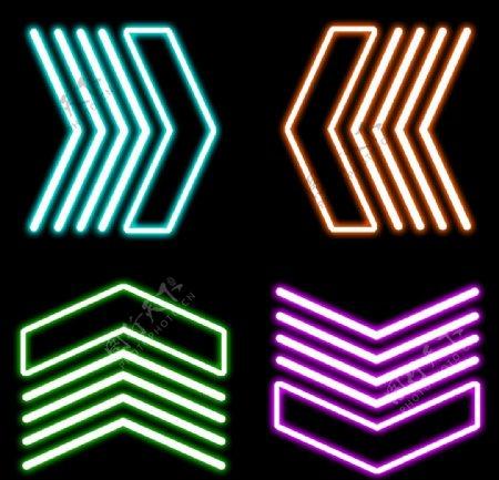 箭头图标外发光四个箭头彩色图片