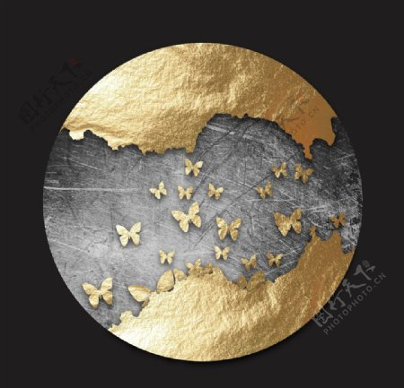 抽象金色蝴蝶圆形装饰画图片