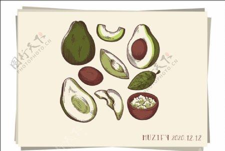 9款入牛油果素描画图片