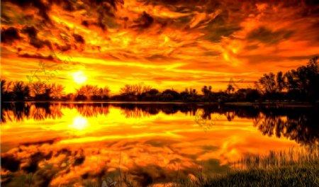 火烧云风景油画图片