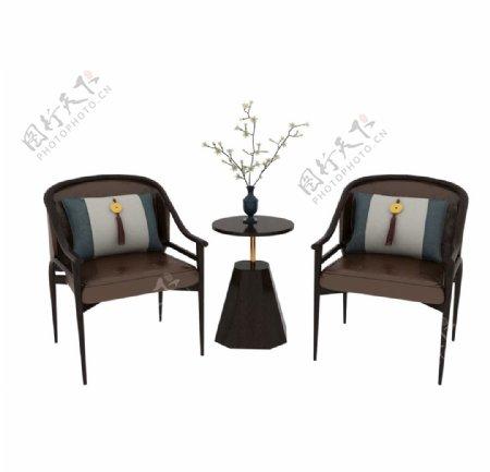 中式休闲桌椅3d模型图片