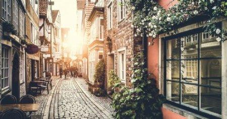 小镇街道街景阳光风景图片