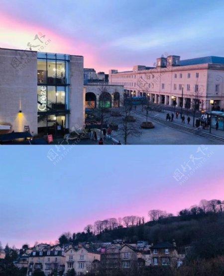 欧洲日落风景图图片