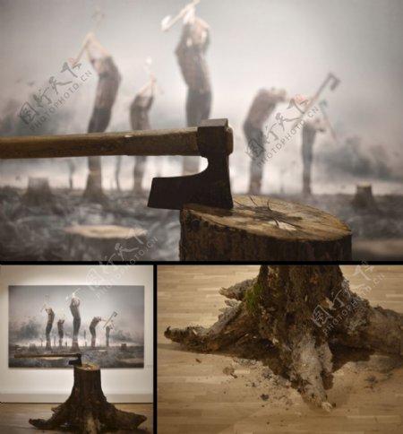 砍伐森林图片