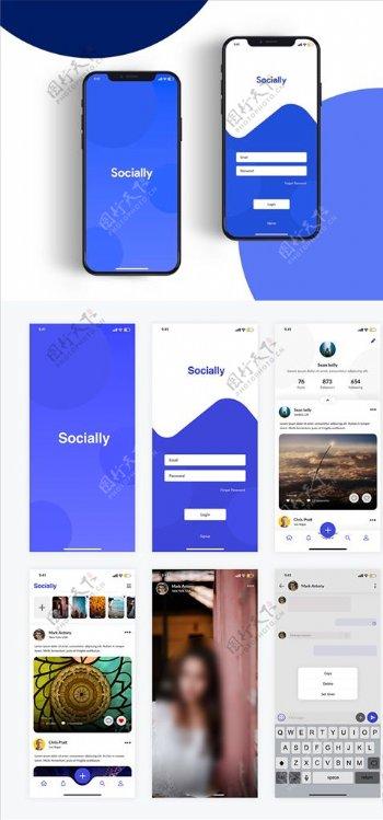 xd社交蓝色ui设计启动页登录图片
