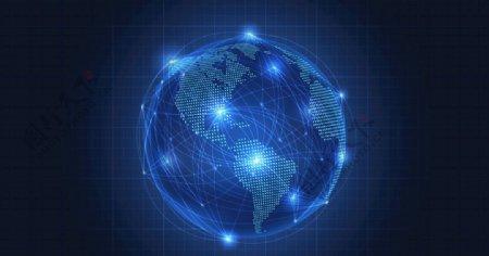 光效地球抽象网络通讯概念素材图片