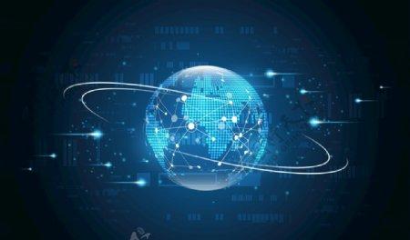 蓝色科技地球网络科技EPS素材图片